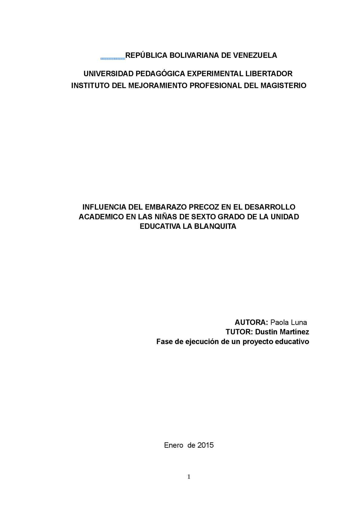 Paola Proyecto Embarazo Precoz Completo
