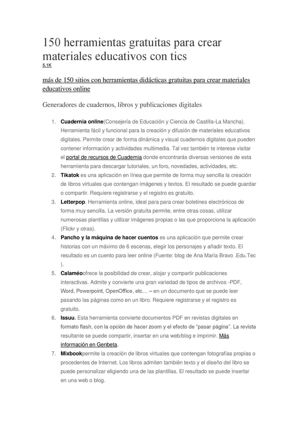 Calaméo - 150 Herramientas Gratuitas Para Crear Materiales ...