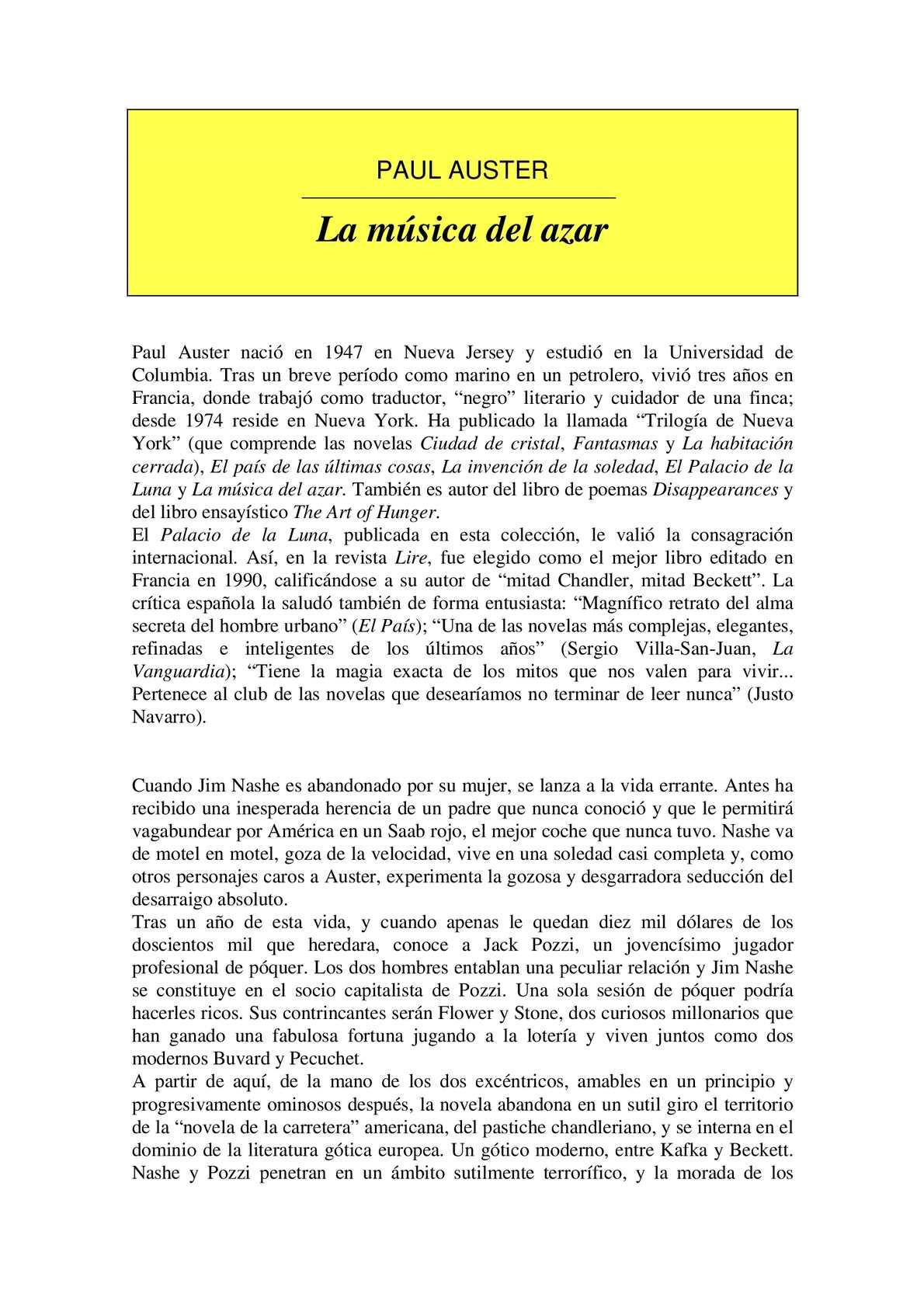 Calaméo - Paul Auster La Música Del Azar