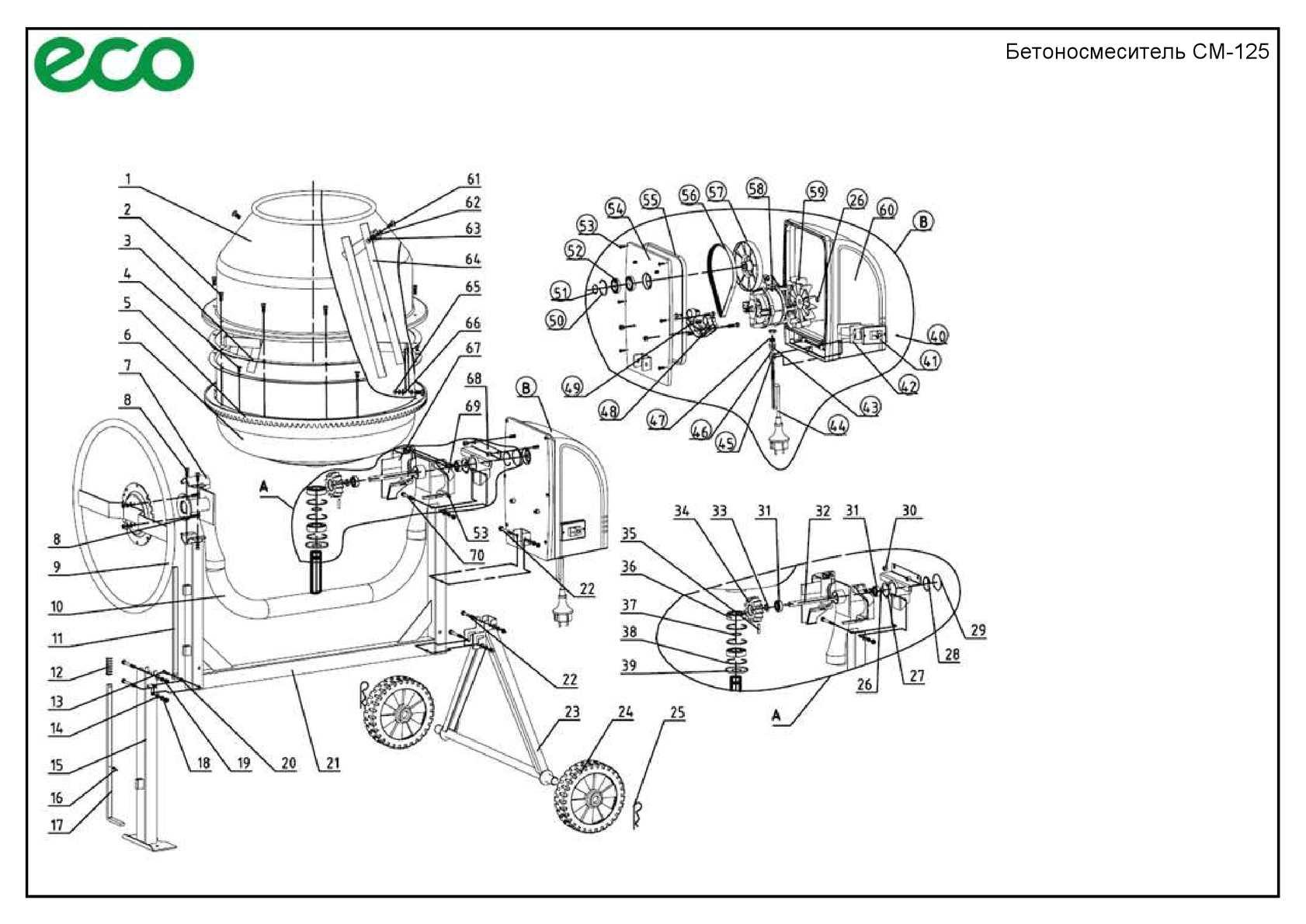 Eco Бетоносмеситель Cm 125