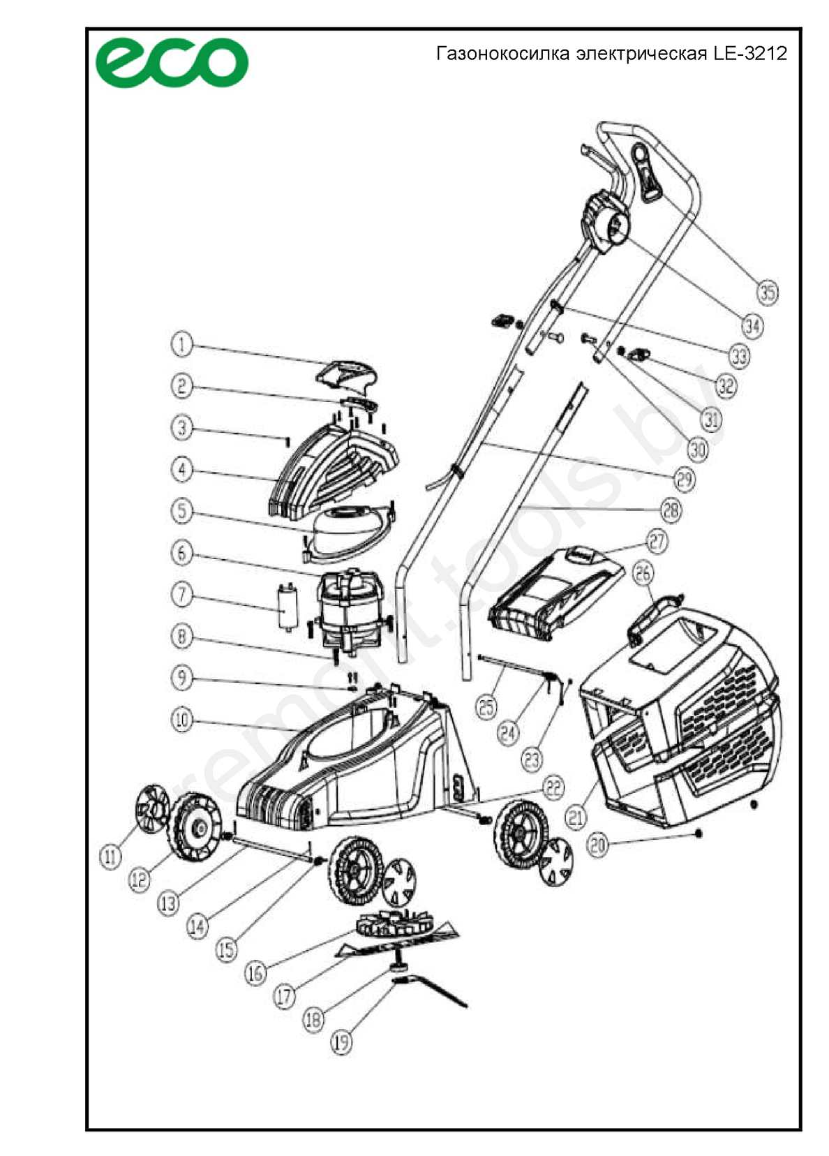 Eco Газонокосилка электрическая Le 3212