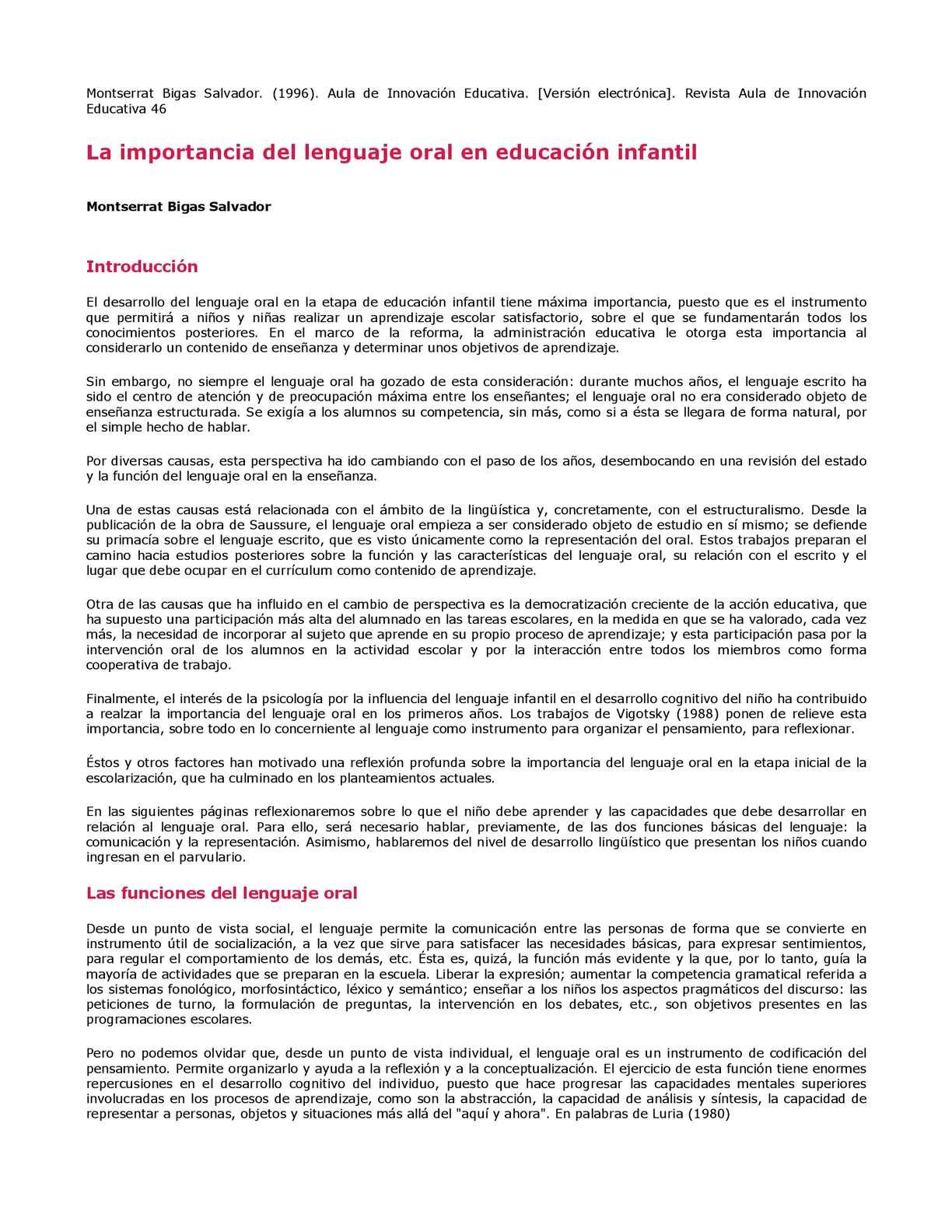 Calaméo - La Importancia Del Lenguaje Oral En Educacion Infantil