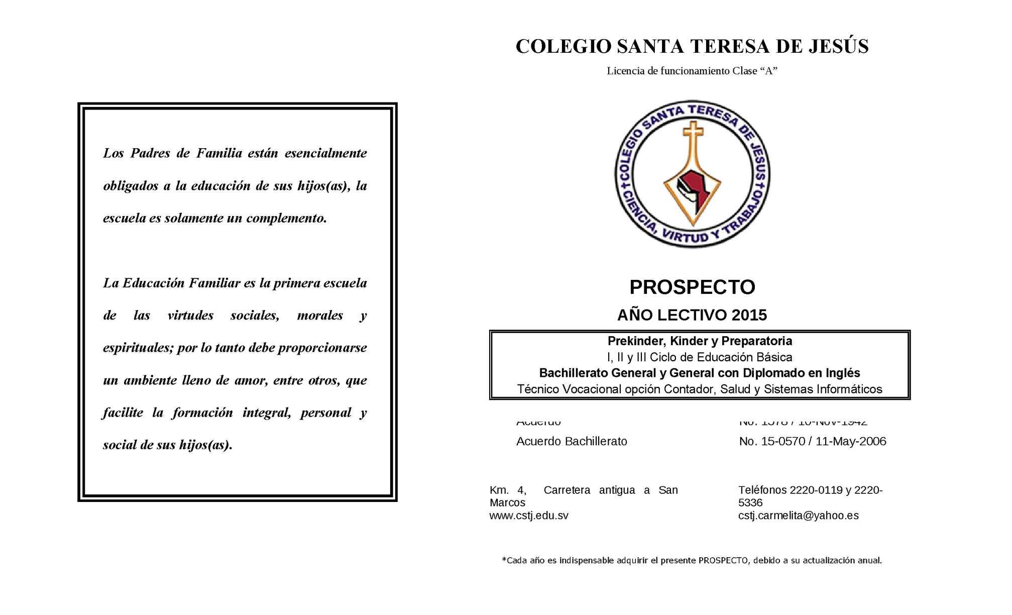 Calaméo - Prospecto cstj 2015