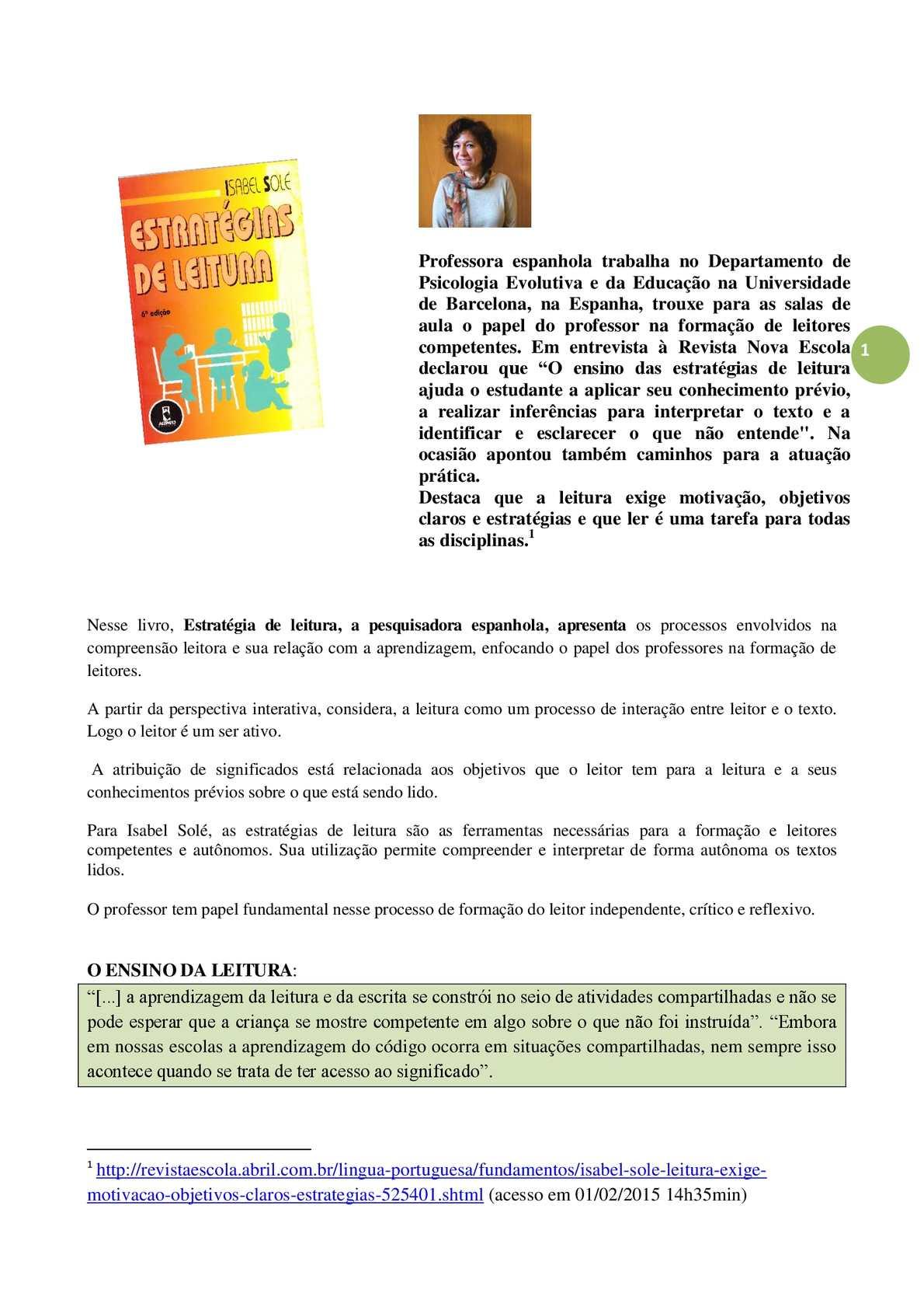 """""""Estratégias de Leitura""""- Isabel Solé  -  resumo"""