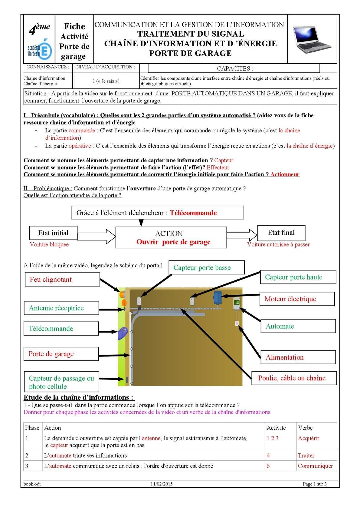 Calam o tp commande 1 porte de garage correction for Gestion de garage