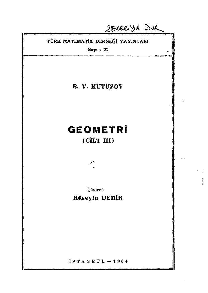 Geometri Cilt III - B.V. Kutuzov (çev.H. Demir)