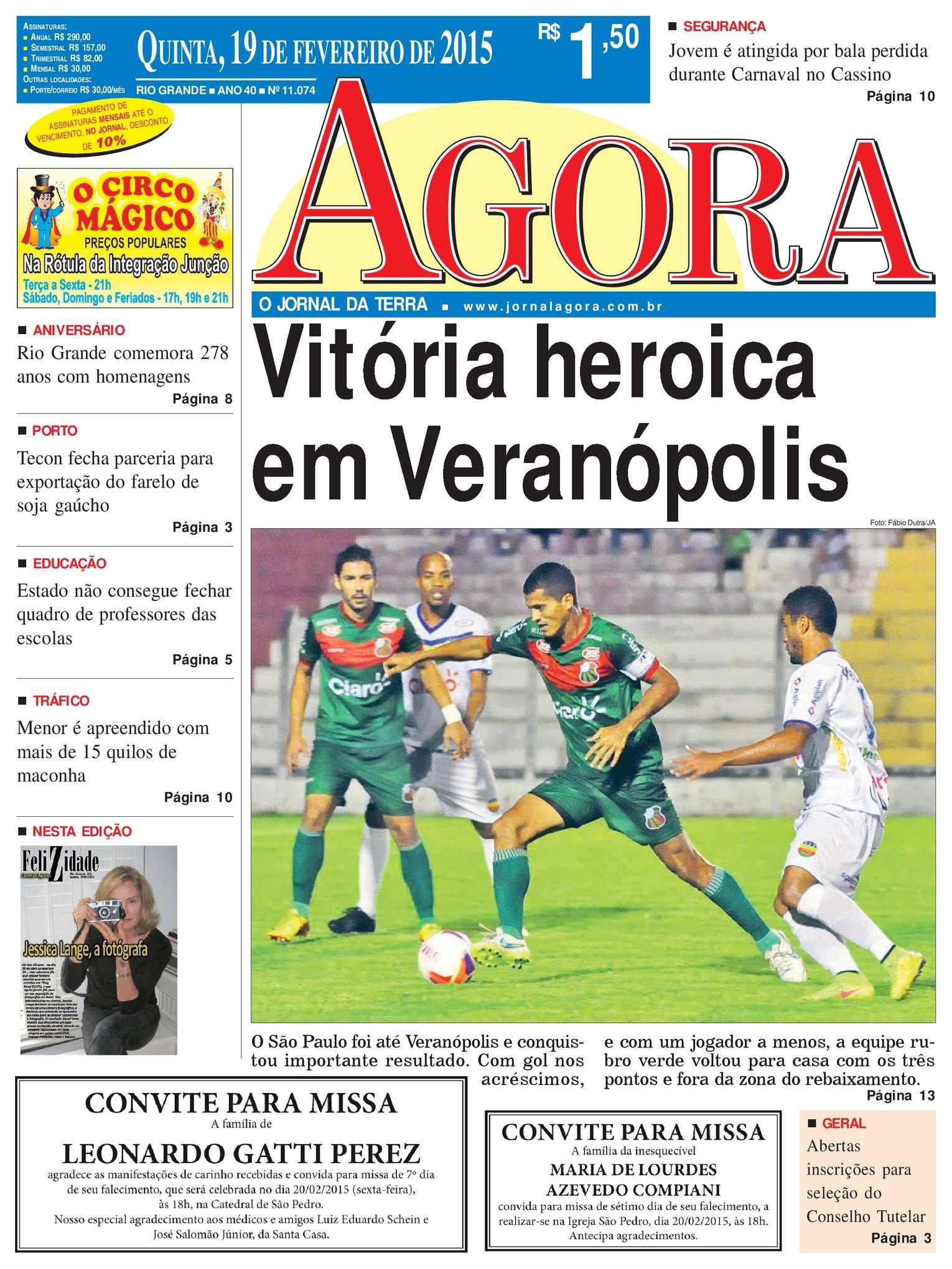 3c38a522c3637 Calaméo - Jornal Agora - Edição 11074 - 19 de Fevereiro de 2015