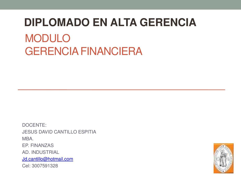 Modulo Gerencia Financiera 2015