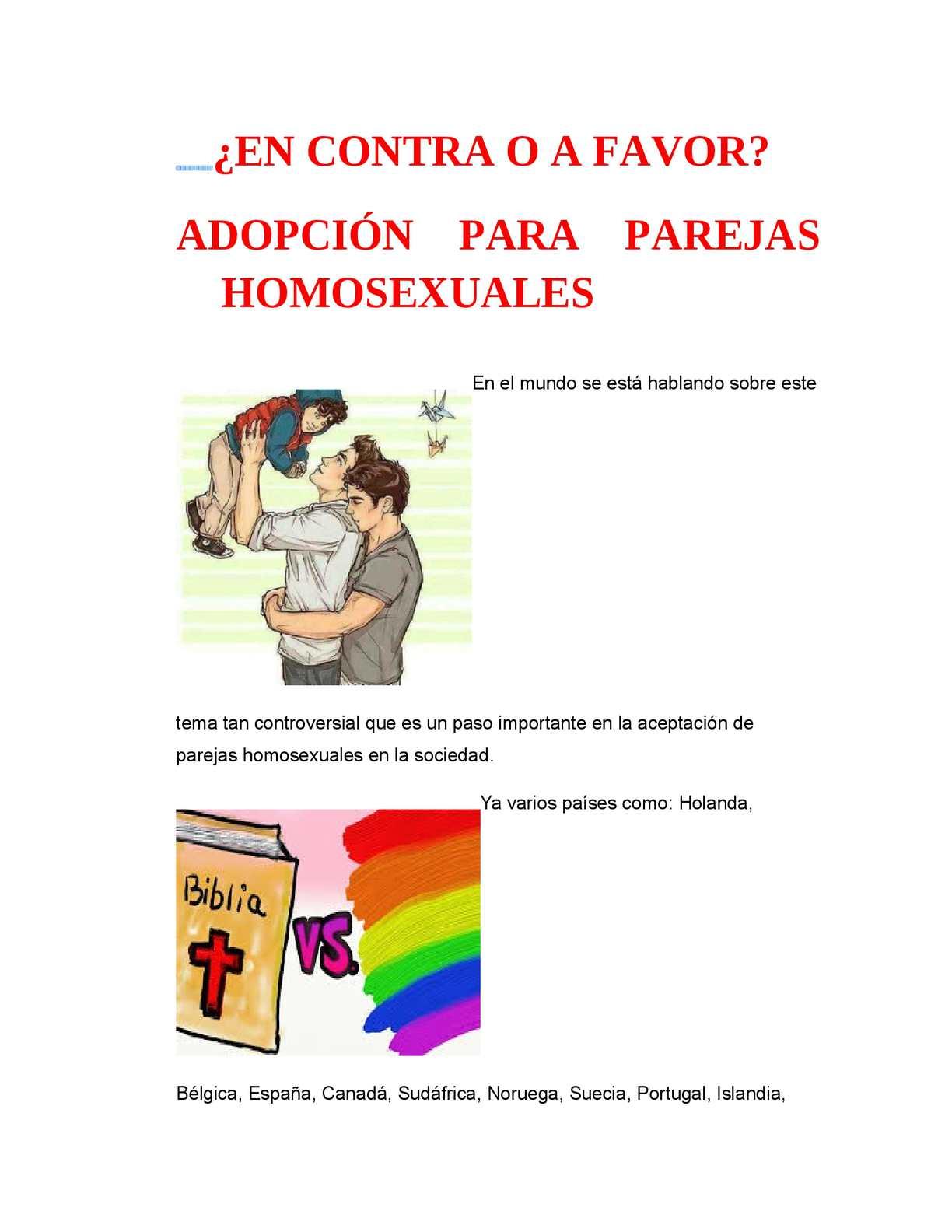 Puntos a favor y en contra de la adopcion homosexual