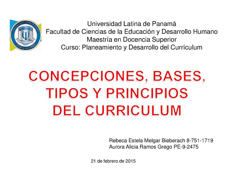 Calaméo - CONCEPCIONES, BASES, TIPOS Y PRINCIPIOS DEL CURRICULUM