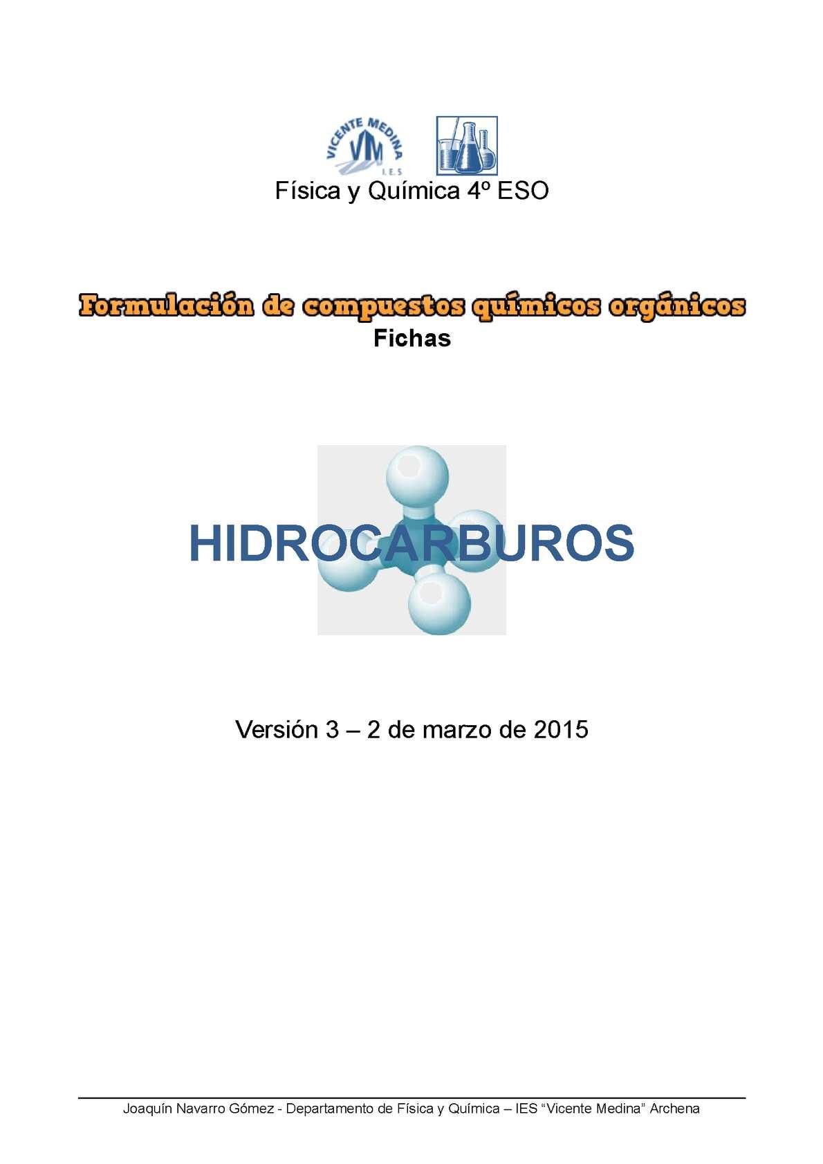 Formulación Orgánica. Hidrocarburos