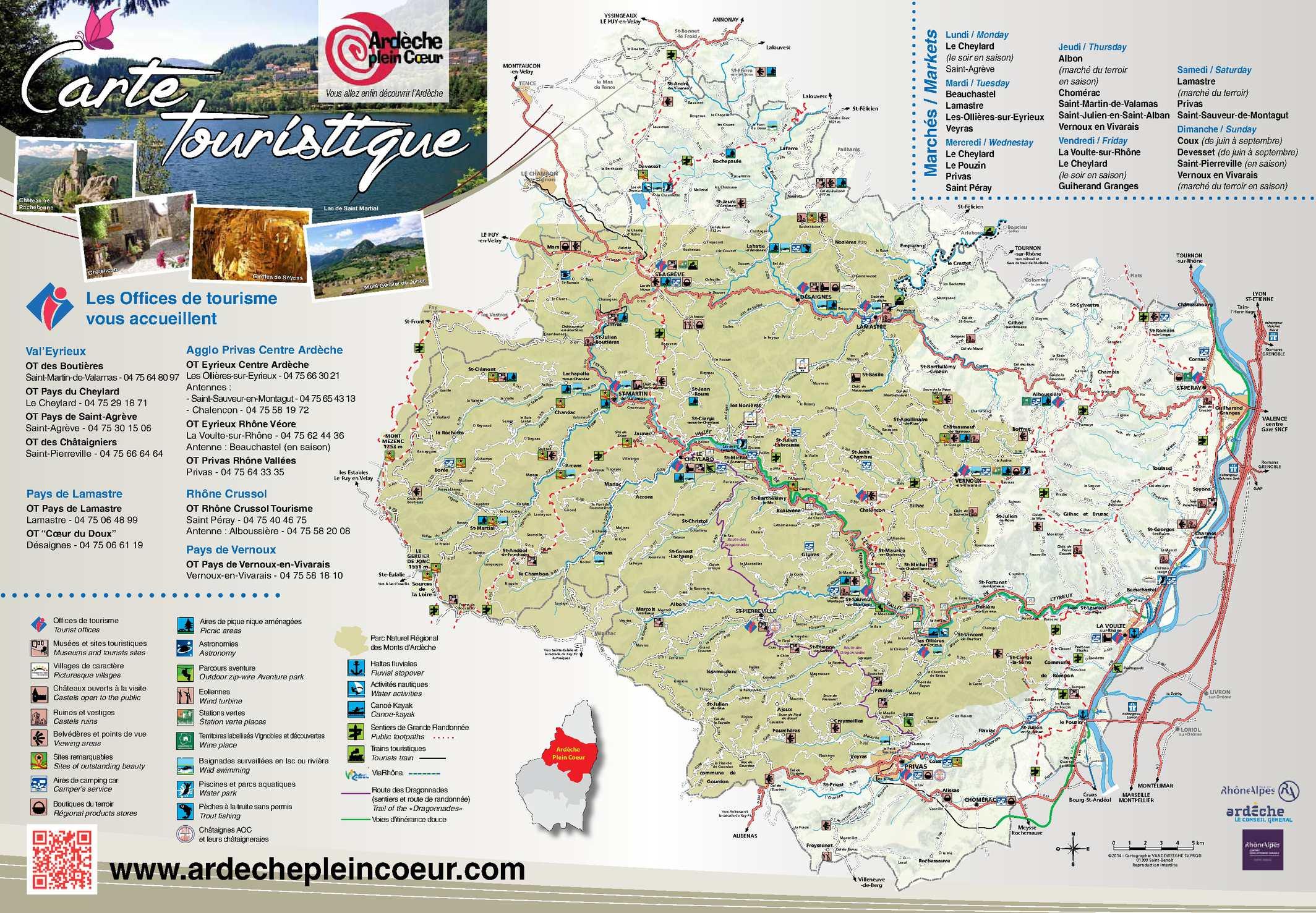 Calam o carte touristique ardeche plein coeur2015 - Office tourisme saint martin d ardeche ...