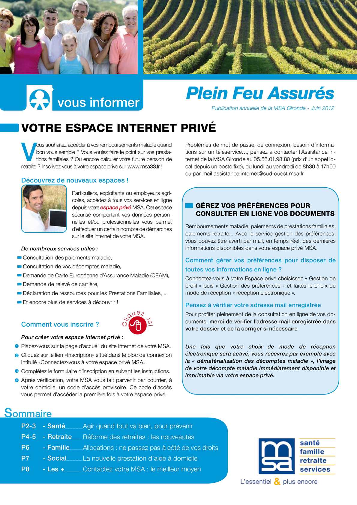 Carte Assurance Maladie Msa.Calameo Plein Feu Assures 2012