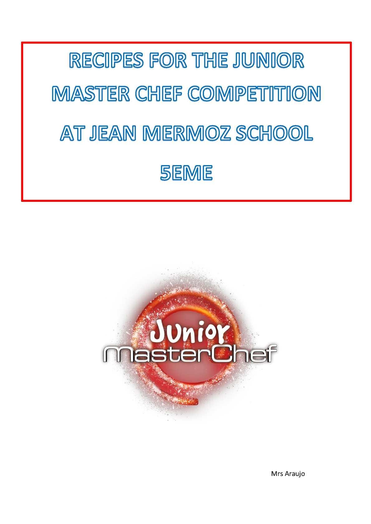 JUNIOR MASTER CHEF RECIPES AT SCHOOL