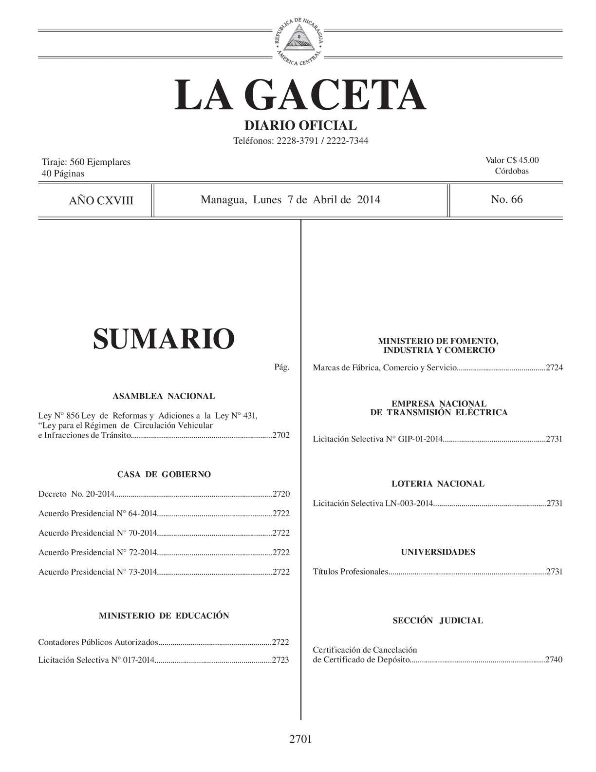 66 Gaceta, Lunes 7 De Abril De 2014