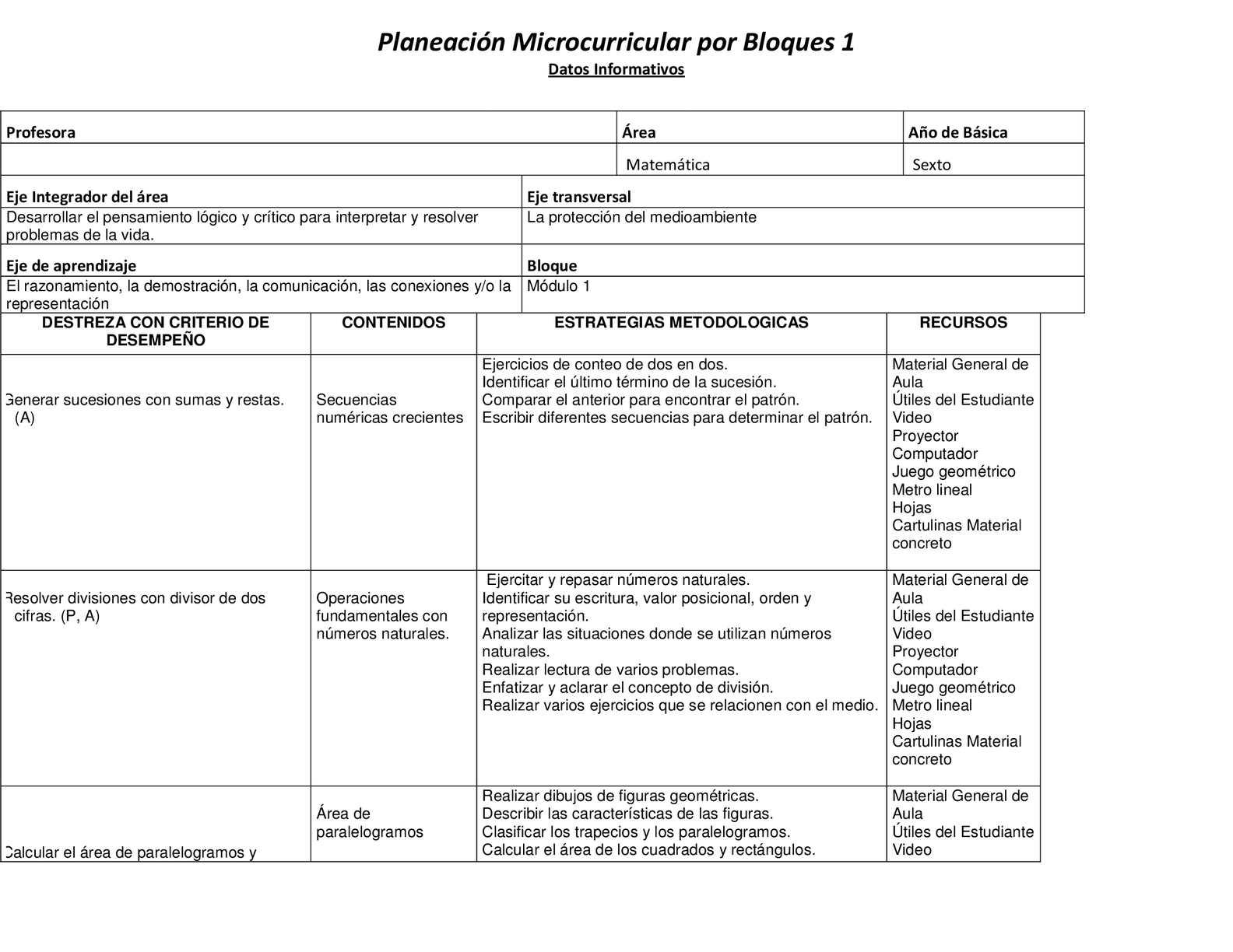 Calaméo - Planeación Microcurricular Por Bloques Matematica 6 Año