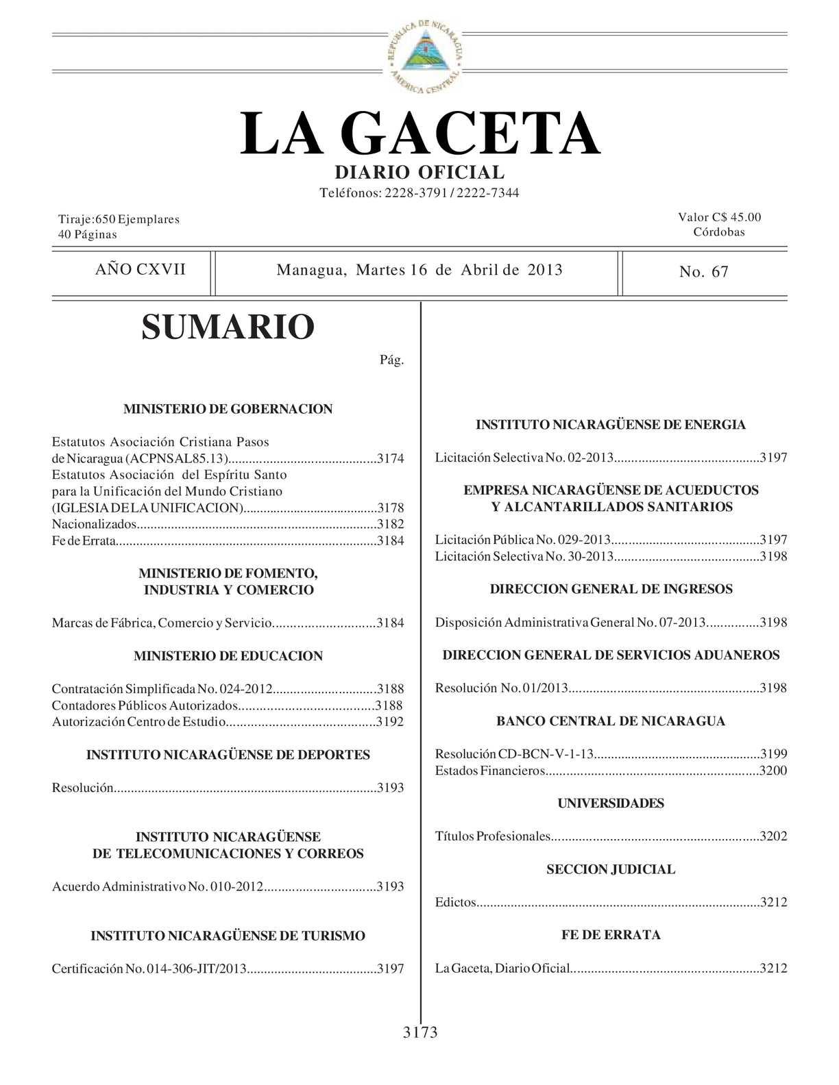 67 Gaceta, Martes 16 De Abril 2013