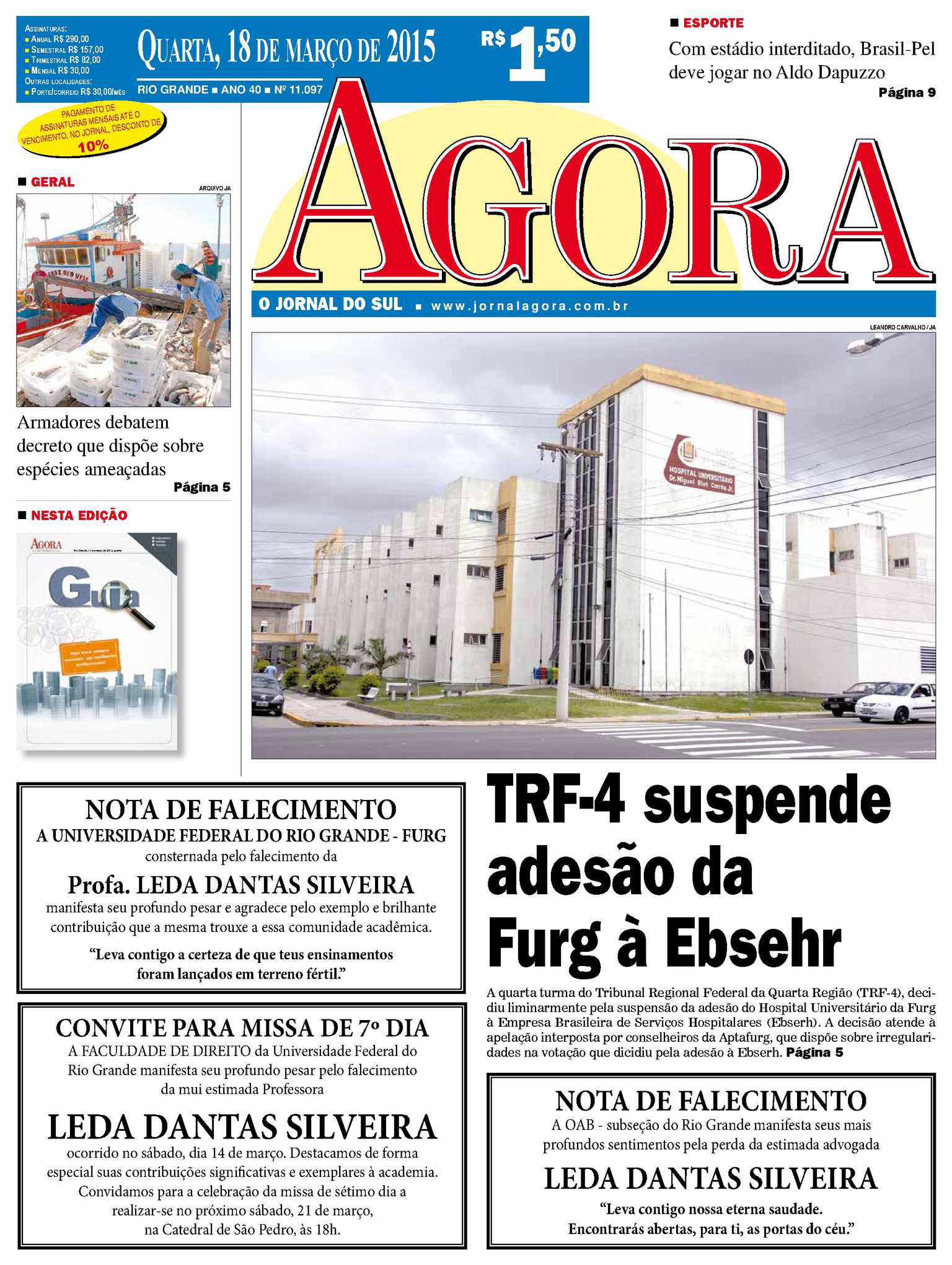 dd2a9a15607 Calaméo - Jornal Agora - Edição 11097 - 18 de Março de 2015