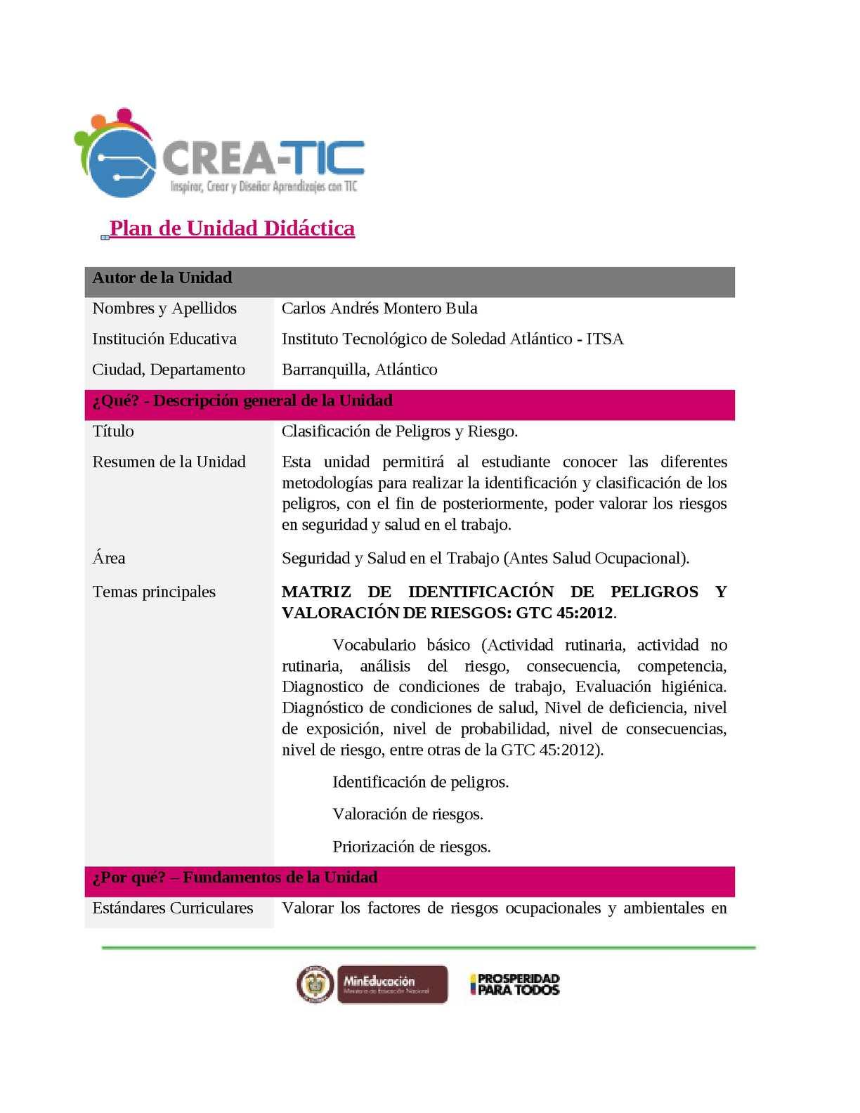 Calaméo - Unidad Didactica Clasificación De Riesgos