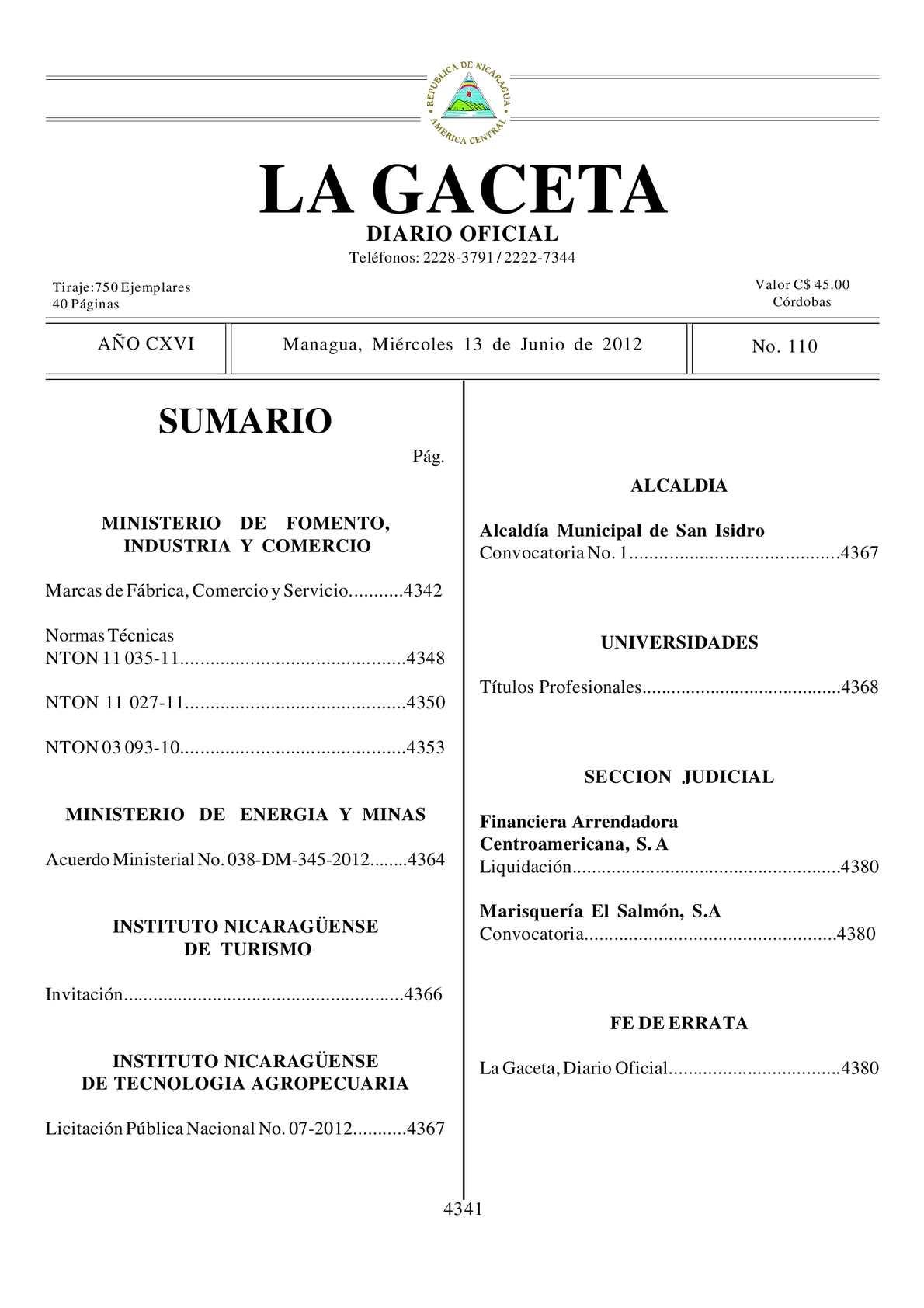 110 Gaceta, Miercoles 13 De Junio 2012