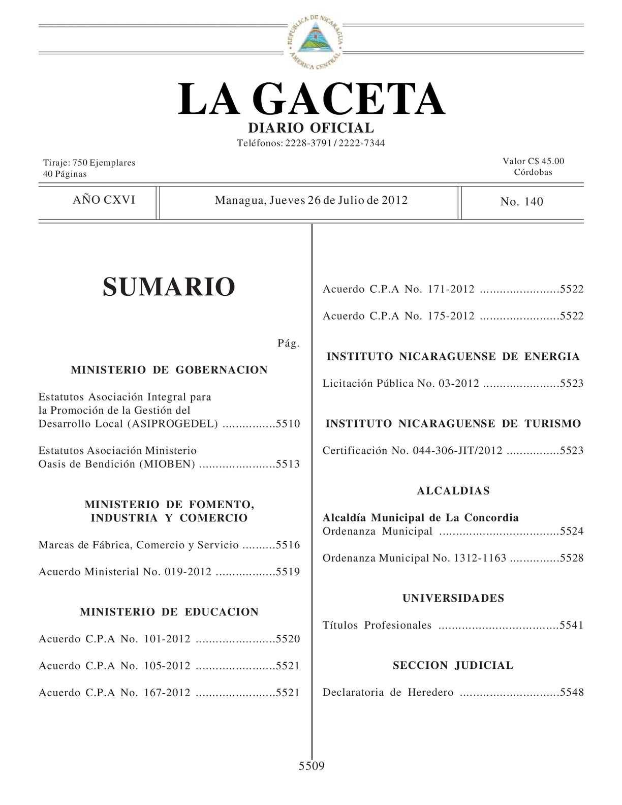 Calaméo - 140 Gaceta, 2012 Jueves 26 De Julio 2012