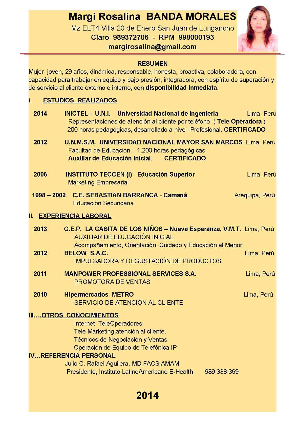 Calaméo - Curriculum Vitae Margi Rosalinda Banda Morales