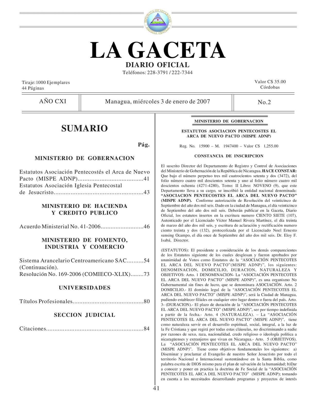 Calaméo - 02 Gaceta, 03 De Enero 2007