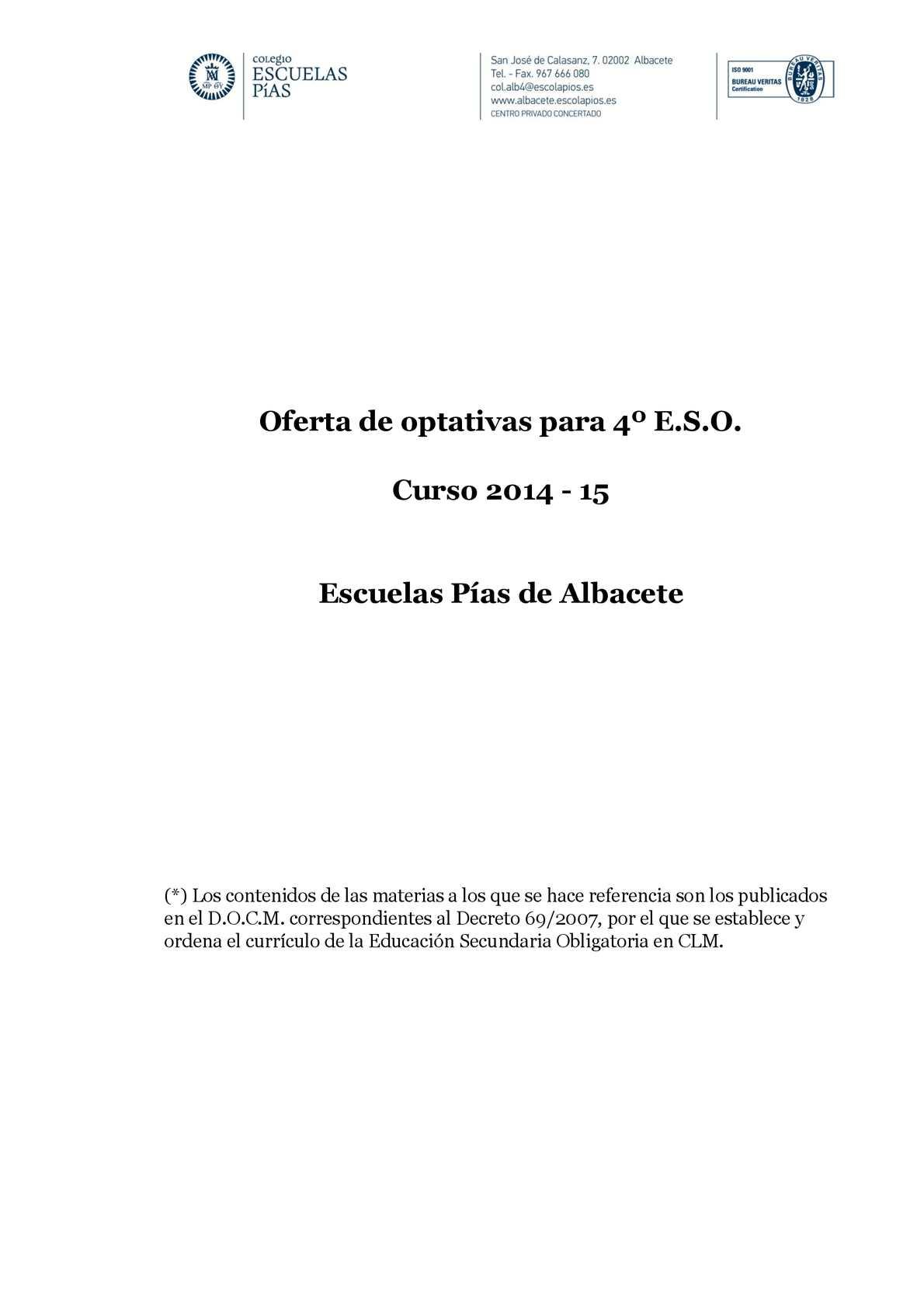 Calaméo - Oferta De Asignaturas Optativas De 4º Eso 2014 15