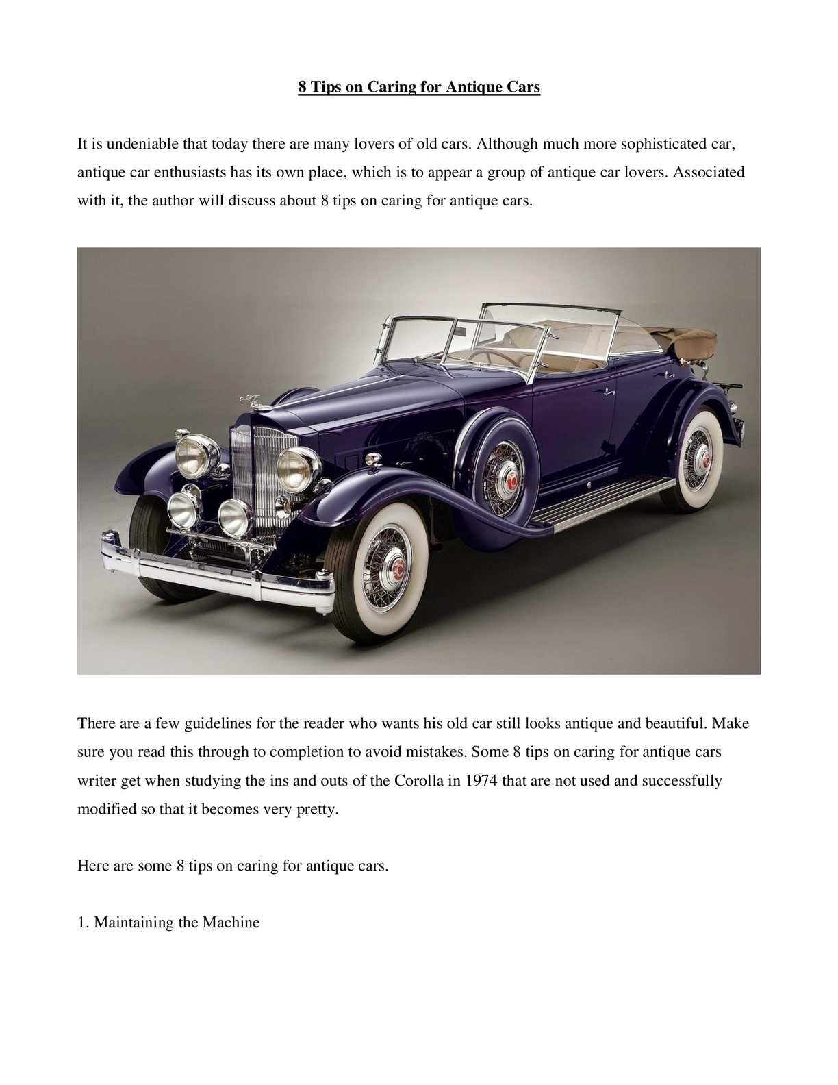 Calaméo - 8 Tips On Caring For Antique Cars