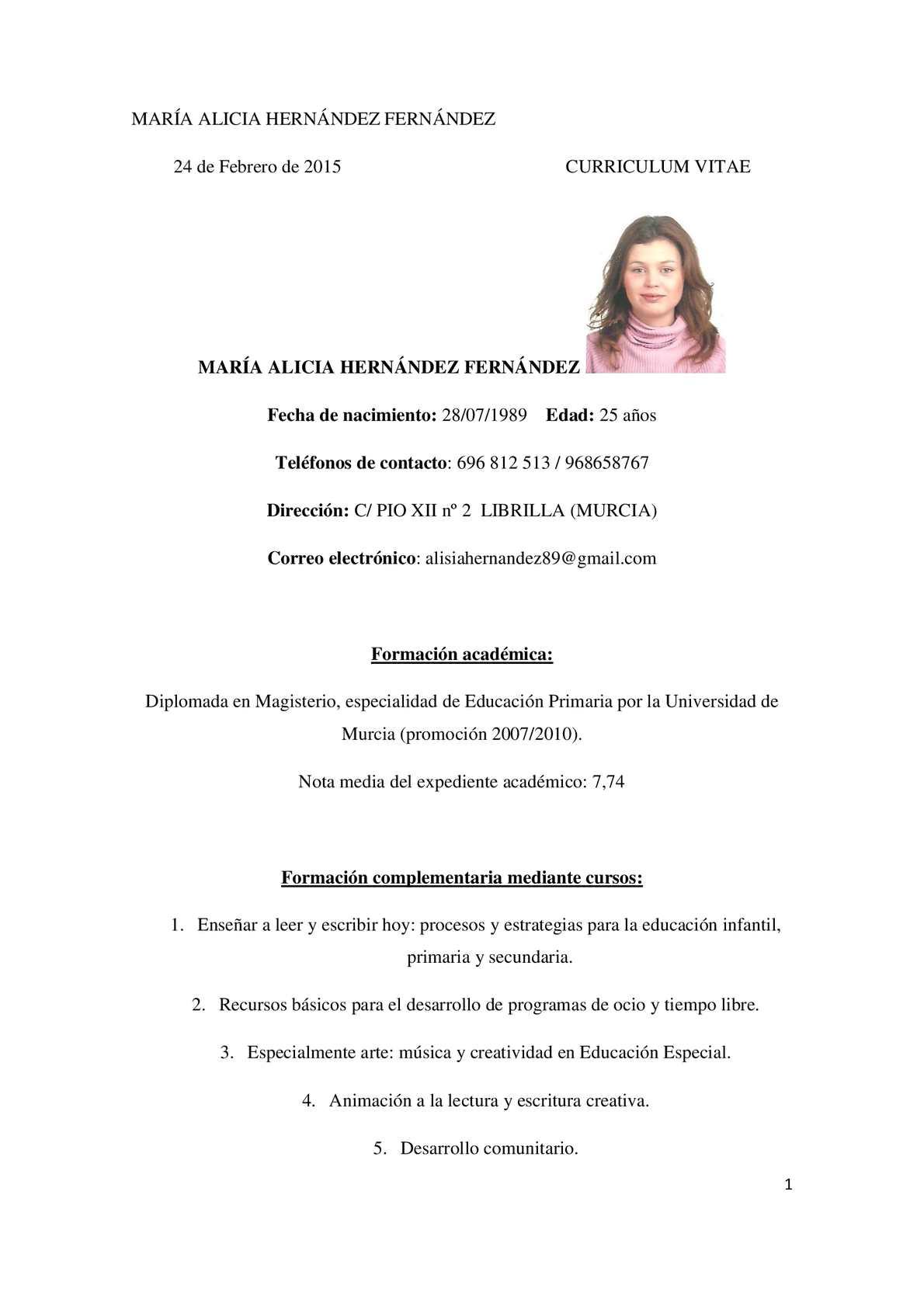Calaméo - Curriculum Maestra 2015