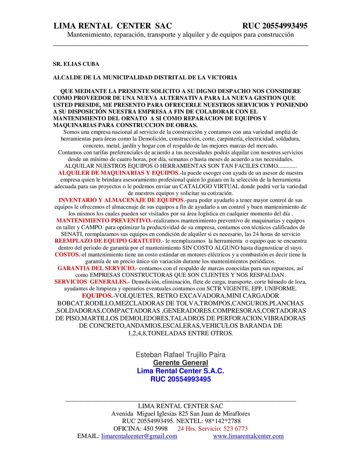 Calam o carta de presentacion pdf for Empresas construccion