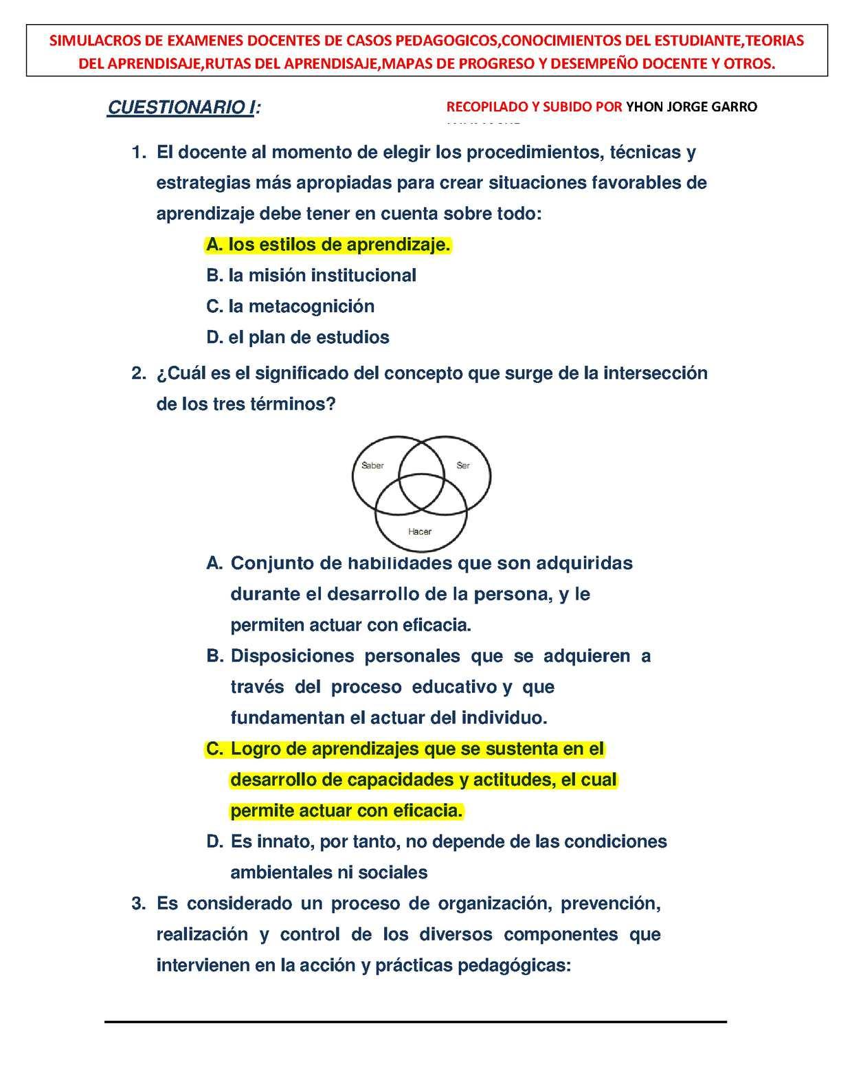 SIMULACRO DE EXAMEN
