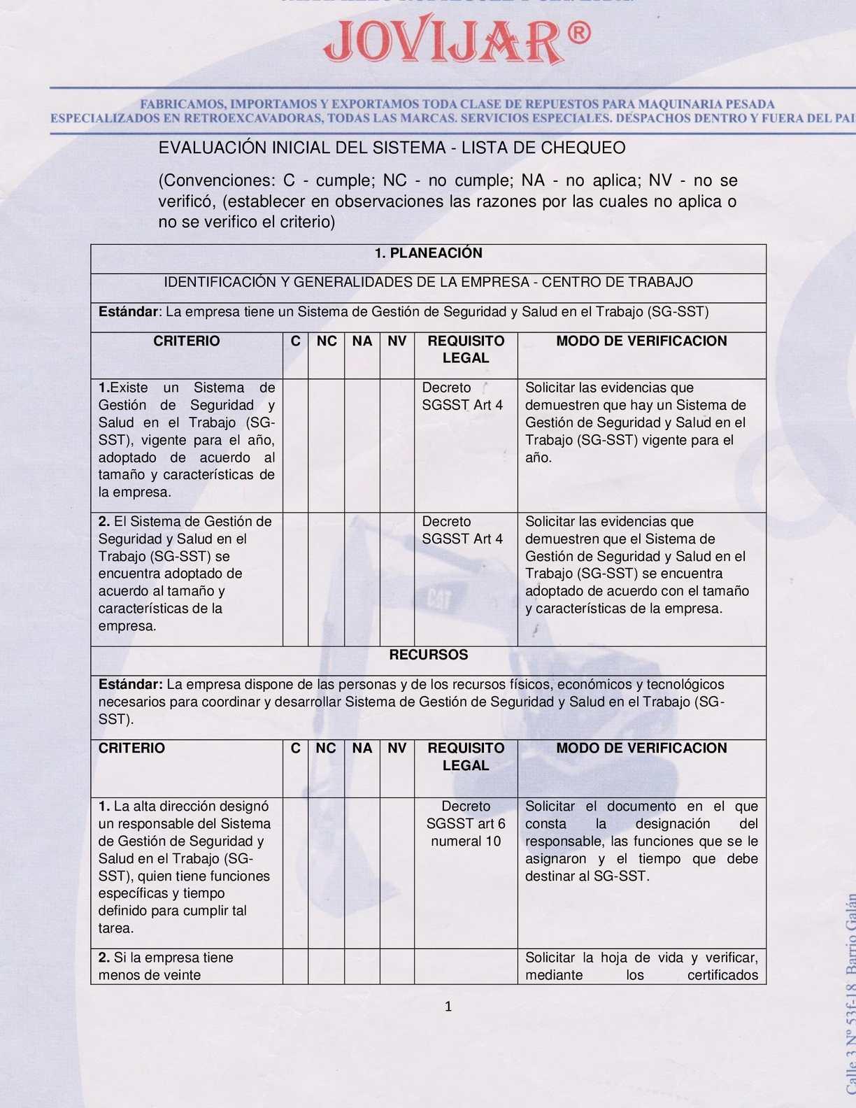 Calaméo - Evaluación Inicial Del Sistema (Lista De Chequeo Jovijar S A)