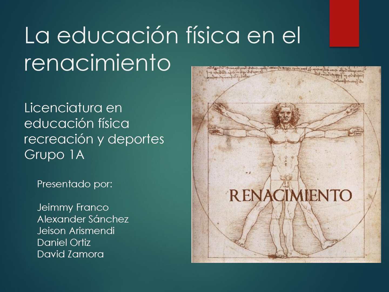Exposición La Educacion Fisica En Renacimiento