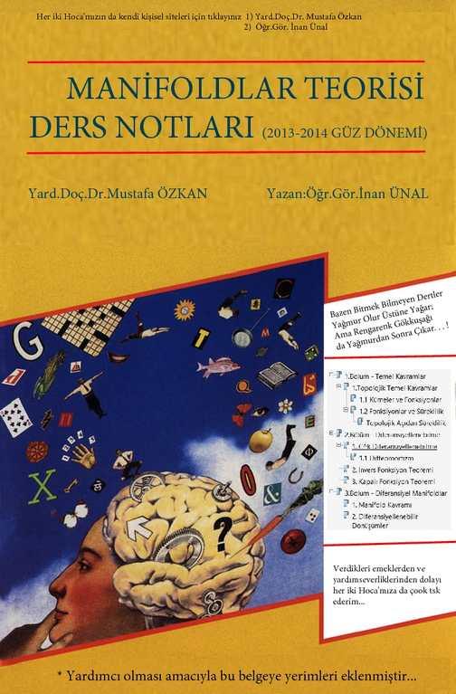 Manifoldlar Teorisi Ders Notları (yaz. Öğr.Gör. İnan Ünal) - Yard.Doç.Dr. Mustafa Özkan