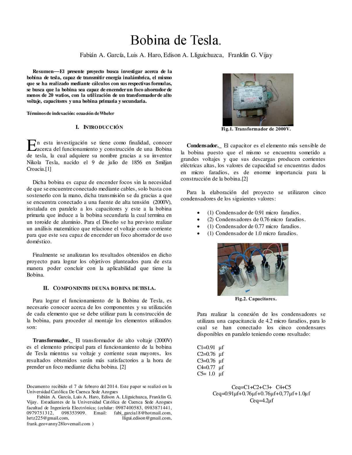 Circuito Bobina De Tesla : Elaboración de una bobina de tesla calameo downloader