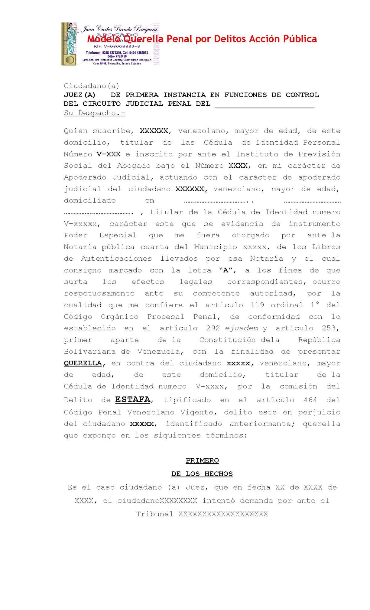 Calaméo - Modelo Querella Penal Por Delitos Acción Pública