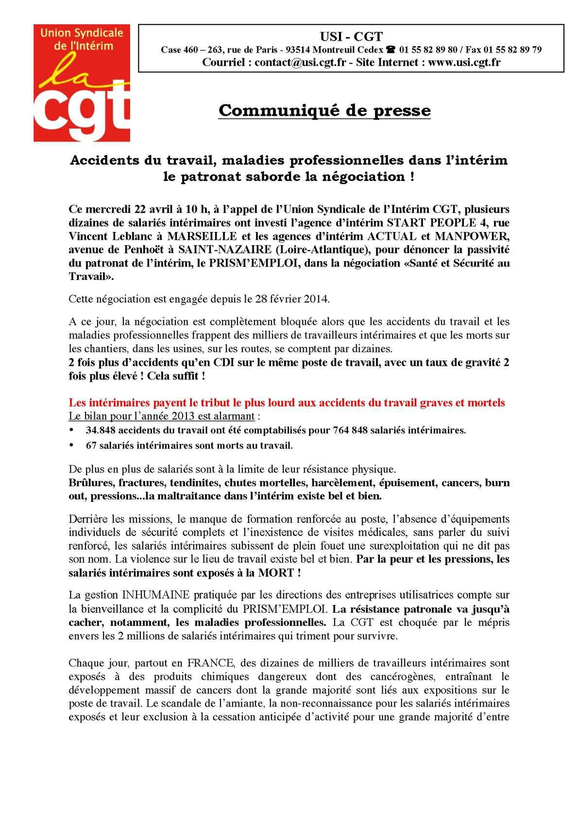 Calam o accidents du travail maladies professionnelles for Agence interim paysagiste marseille