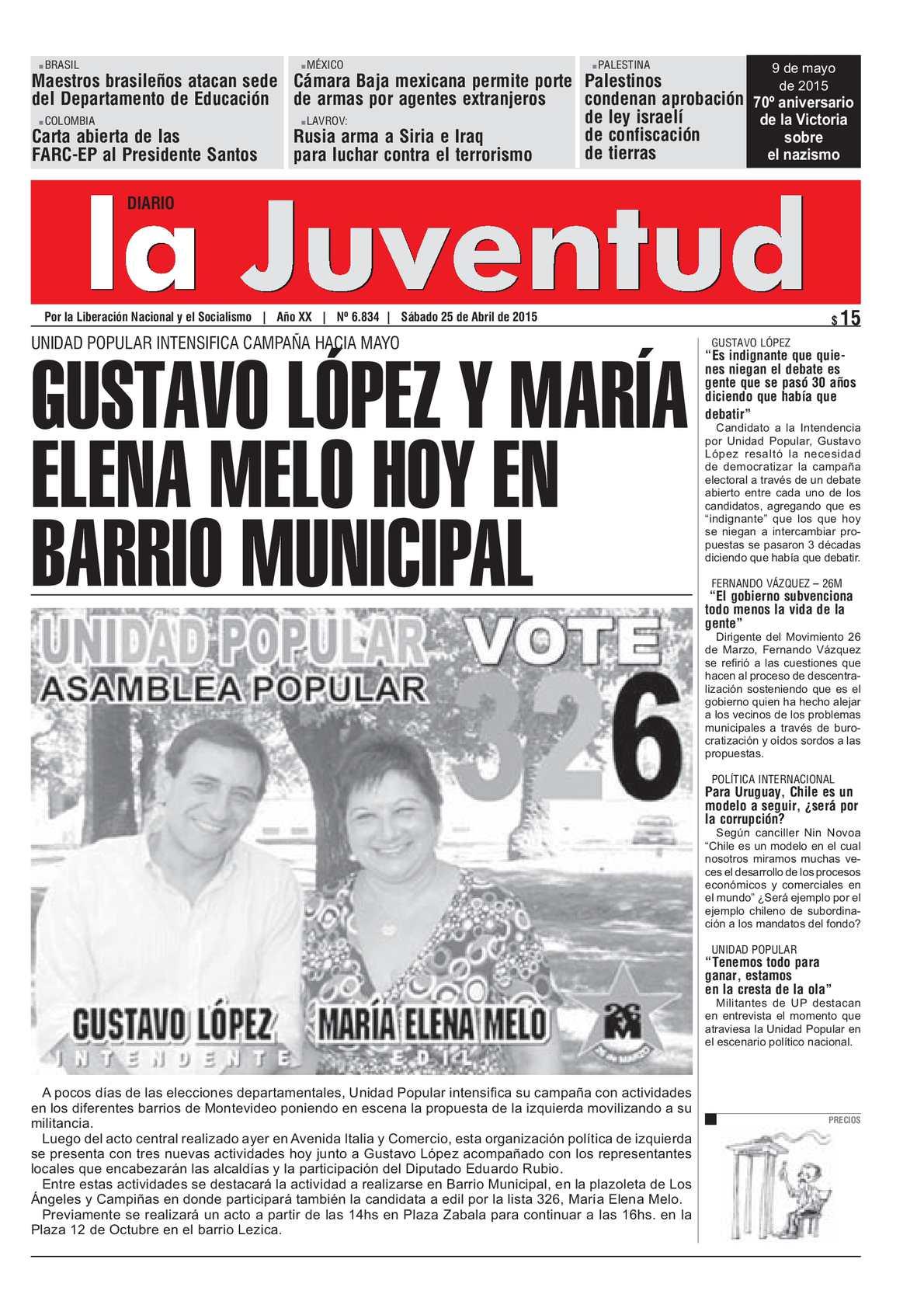 Calaméo - GUSTAVO LÓPEZ Y MARÍA ELENA MELO HOY EN BARRIO MUNICIPAL