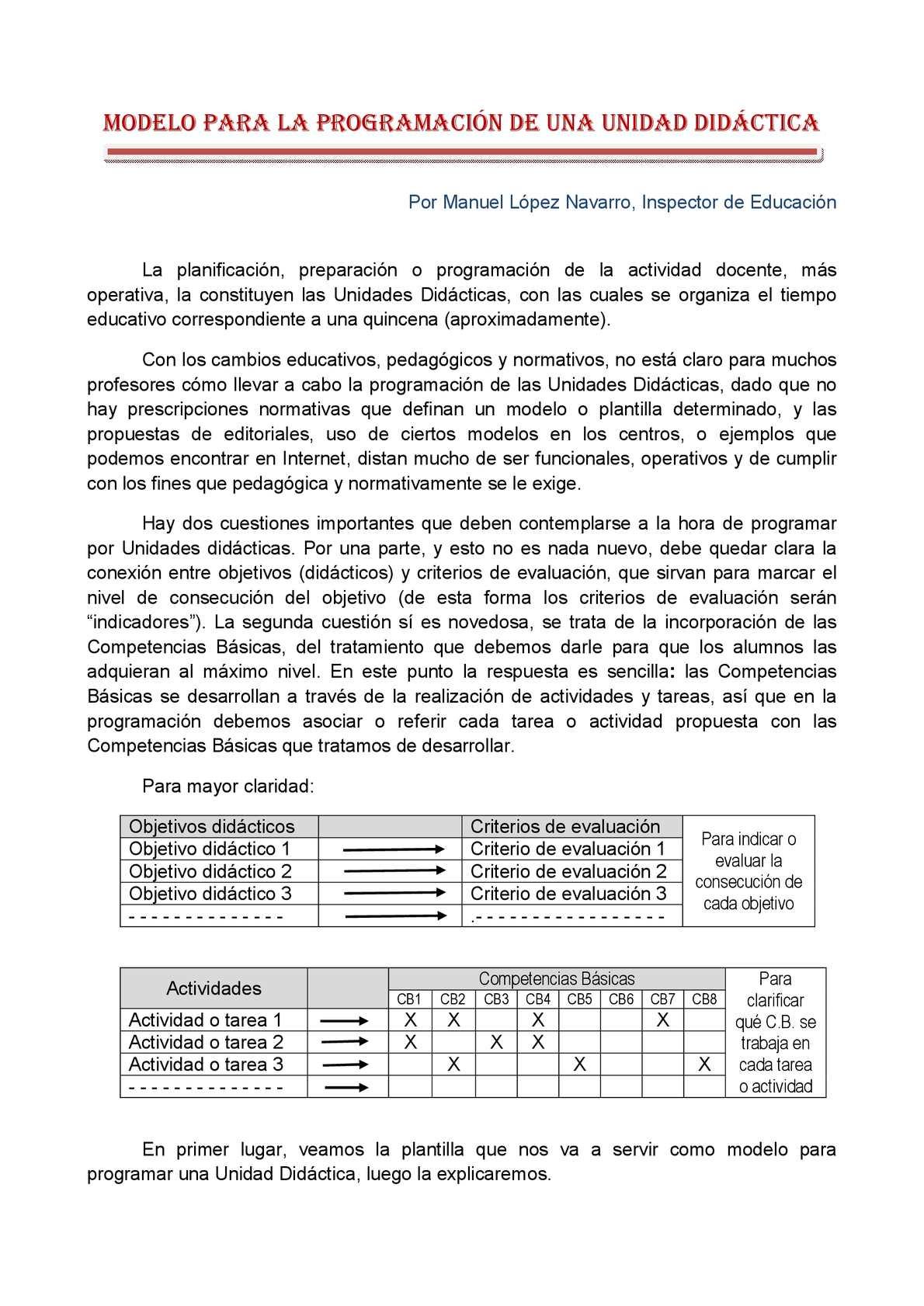 Calaméo - Modelo Programación De Una Unidad Didáctica