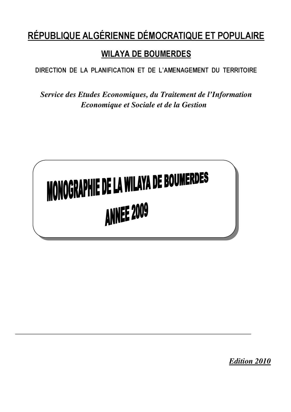 Monographie De Boumerdes