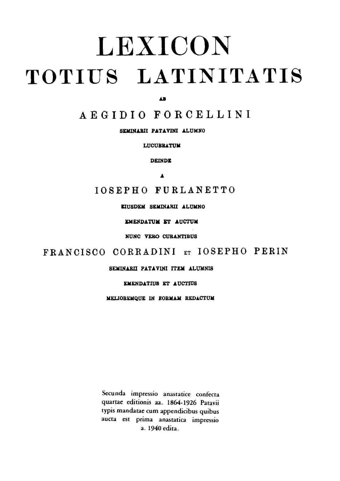 Calaméo Lexicon totius latinitatis A Caldarius Forcellini Aegidio Corradini Franciscus Perin Josephus 1940