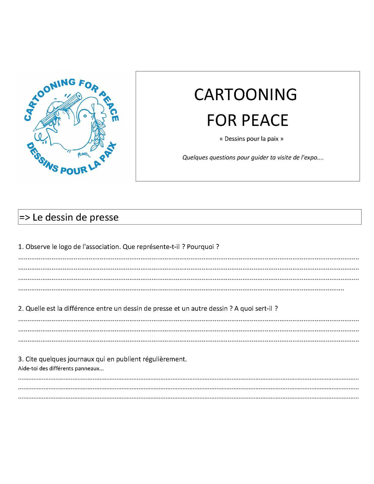 Questionnaire Exposition Cartooning For Peace