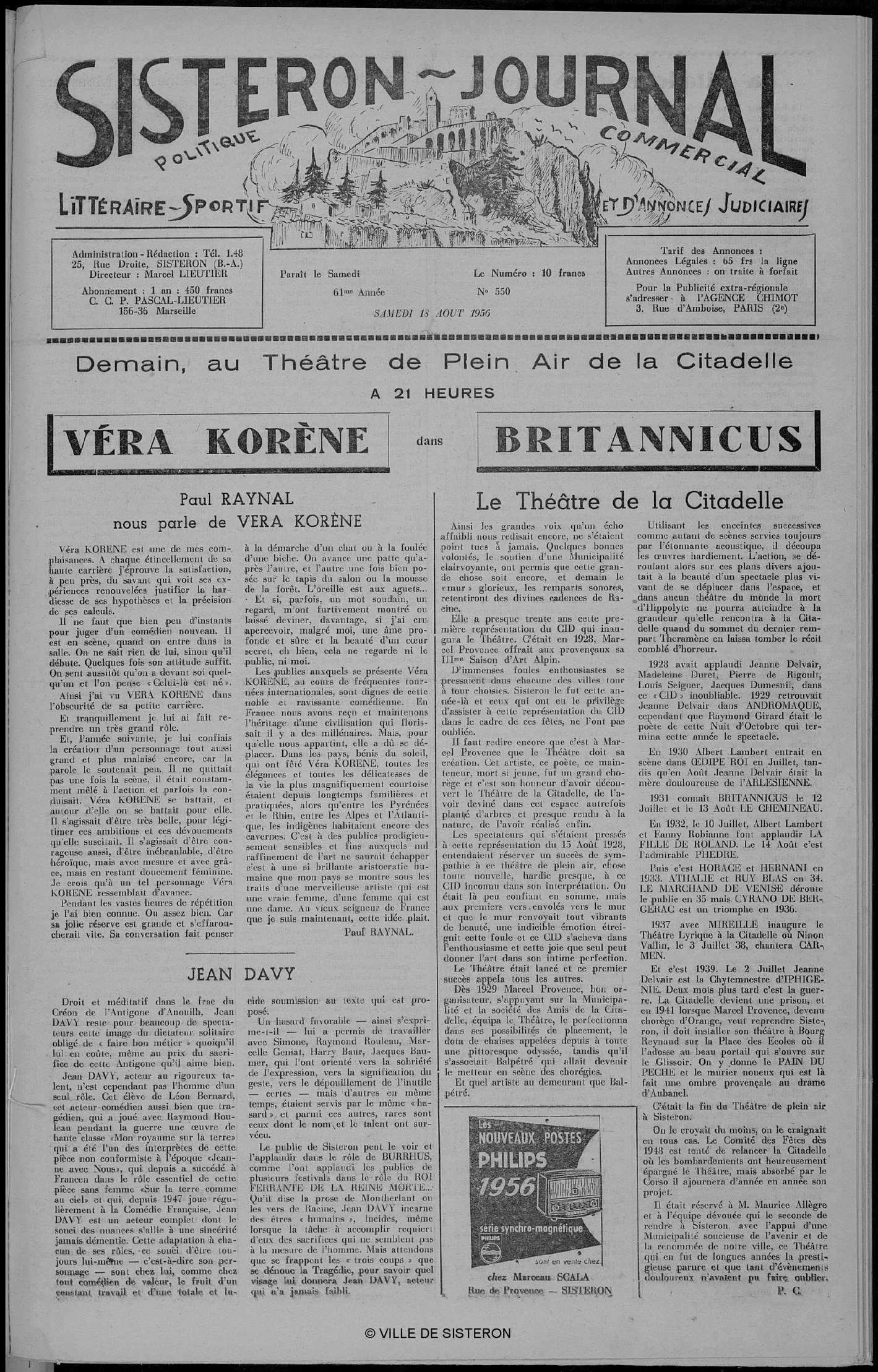 Le Sisteron Journal du 18/08/1956
