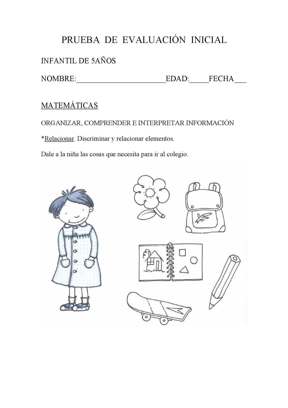 Prueba De Evaluación Inicial Infantil 5 Anos Matematicas