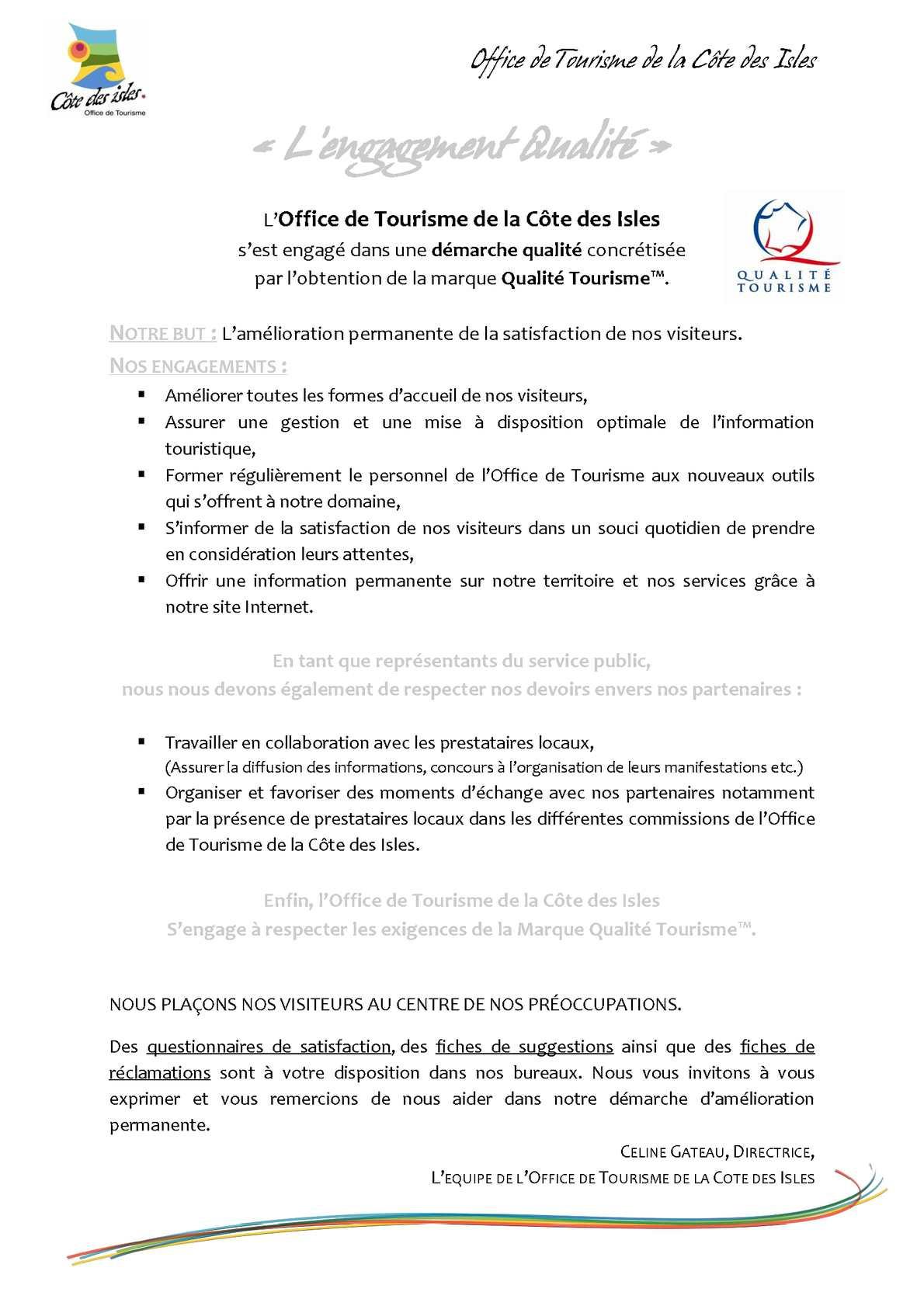 Calam o lettre d 39 engagement de l 39 office de tourisme de la c te des isles - Office tourisme la spezia ...