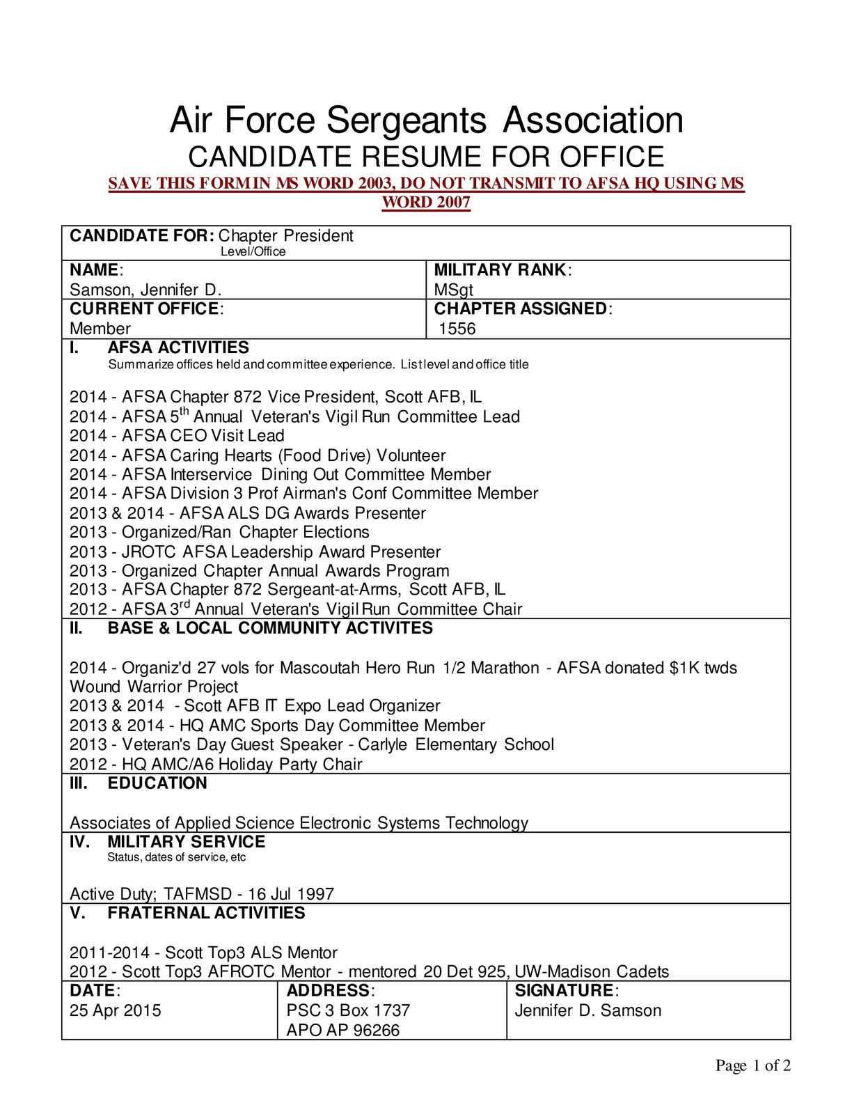 calam eacute o afsa resume chapter president msgt samson jennifer