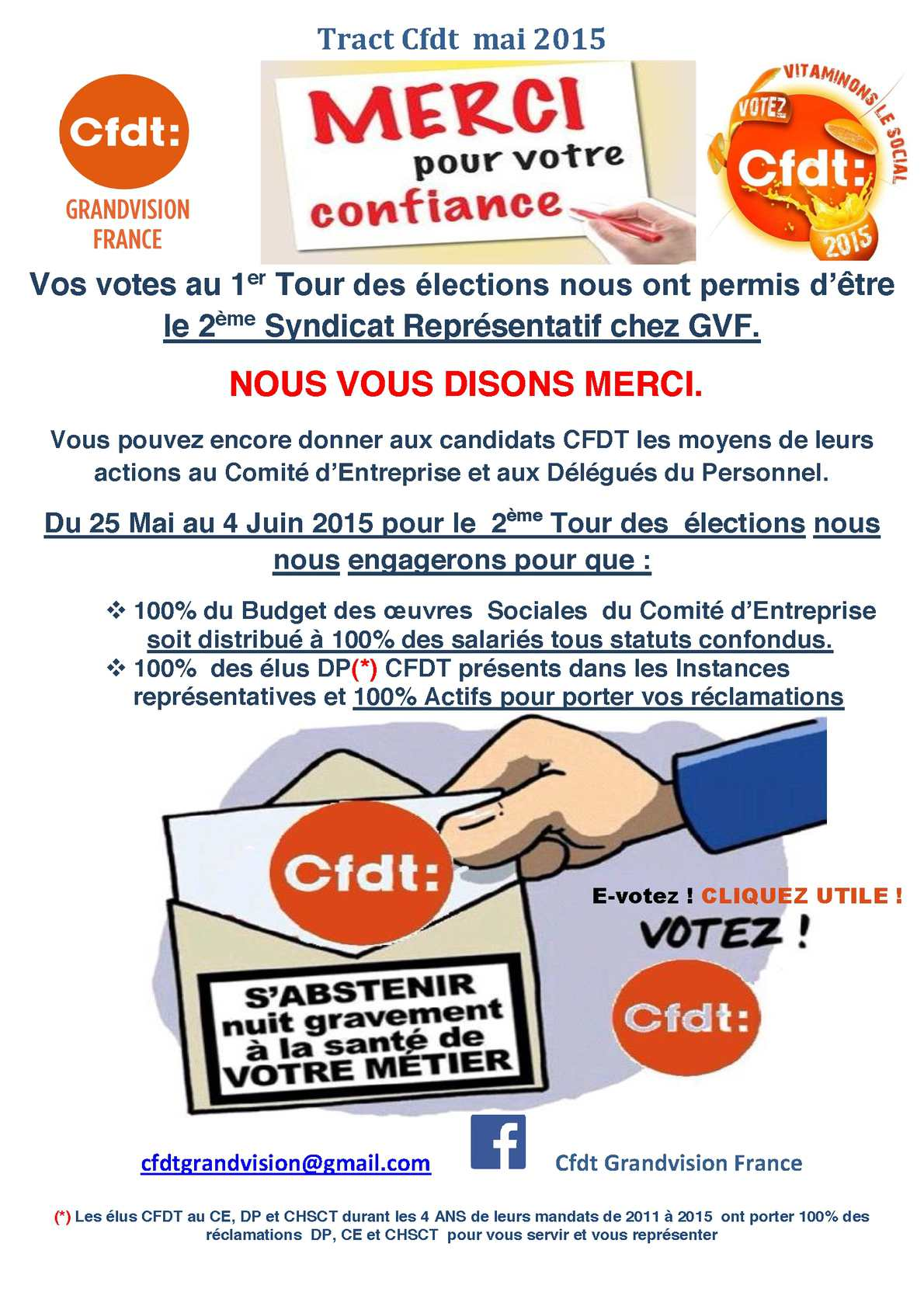 Calam o tract cfdt de mai 2015 1 for Election chsct