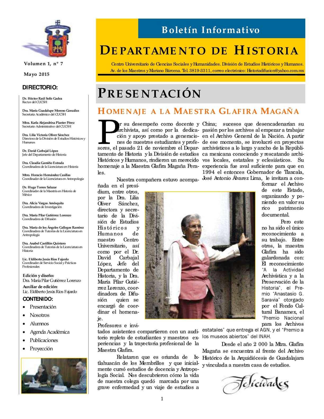 Calaméo - Boletín Del Departamento De Historia, Núm 7 (Mayo 2015)