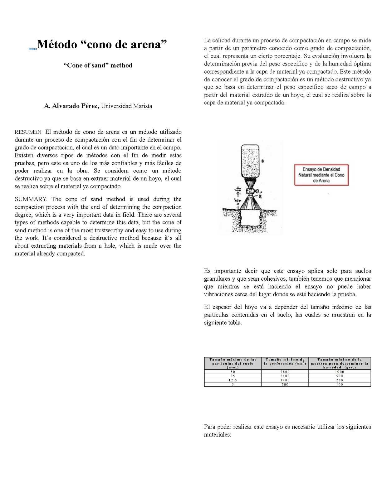 Metodo De Cono De Arena